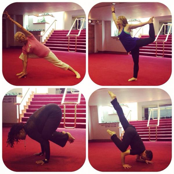 Guests demonstrating a few of their favorite poses. Clockwise from top left: Mary Lou Buck (Cornwell Center & YWCA), Liza Morgan (Yoga One & Yoga on Tap), Adam Whiting (Y2, NoDa Yoga & Big Horizon Yoga) and Stacy Winslow (Evolution Yoga NC)