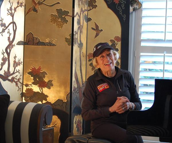 Harriette Thompson, 91, sits at the concert grand piano in her Charlotte home.