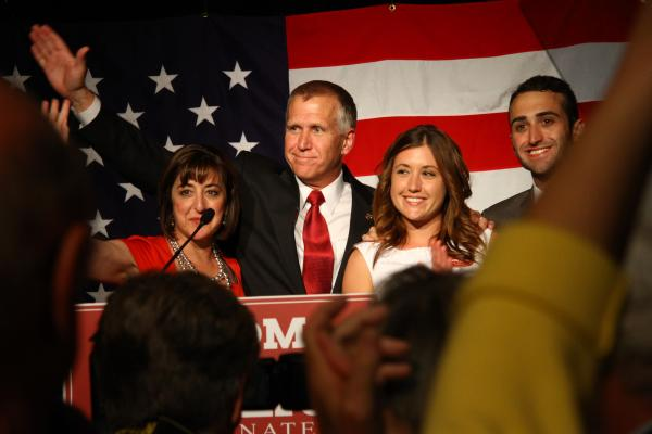 Thom Tillis and his family at his victory party in Charlotte.