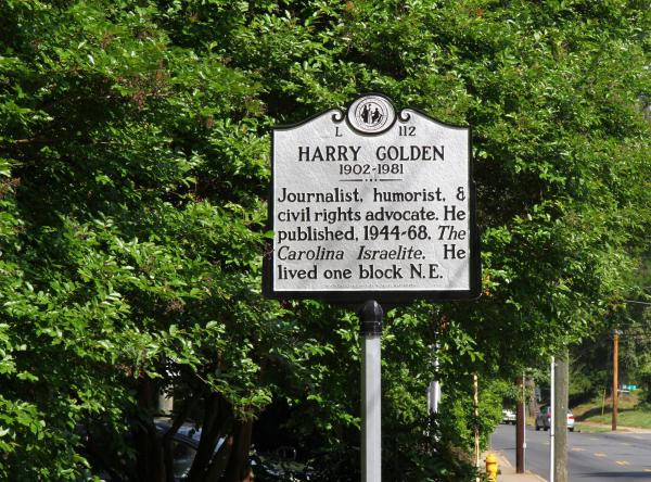 This new historical marker at the corner of 7th and Hawthorne in Charlotte's Elizabeth neighborhood honors Harry Golden