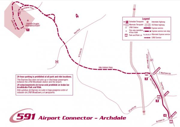 The Route 591 Airport Connector-Archdale will pick up riders along the LYNX Blue Line at the Archdale, Tyvola and Woodlawn transit stations.