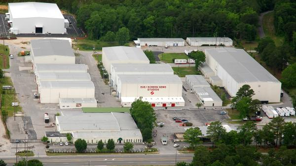 Arial shot of EUE/Screen Gems Studio in Wilmington. Its the largest studio complex outside of California in the United States.