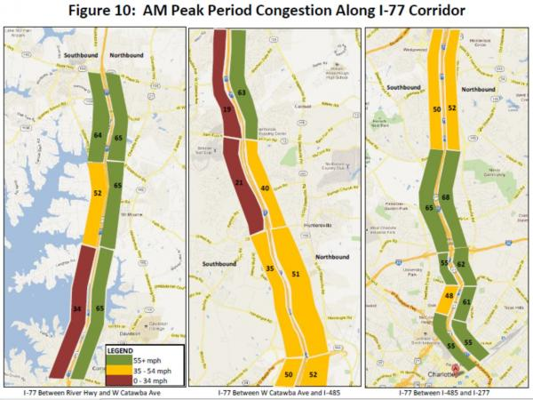 A graphic from a 2012 study commissioned by NCDOT shows congestion during the morning hours between WT Harris Boulevard and Gilead Road.