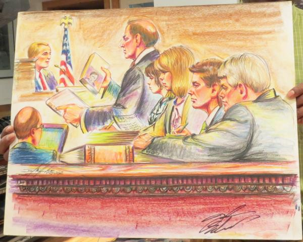 A courtroom sketch signed by former U.S. Senator John Edwards during a 2012 trial in Greensboro.