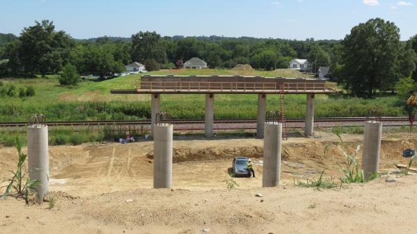 Construction of the Roberta Road bridge project in Harrisburg. Homes will be on one side and businesses on the other.