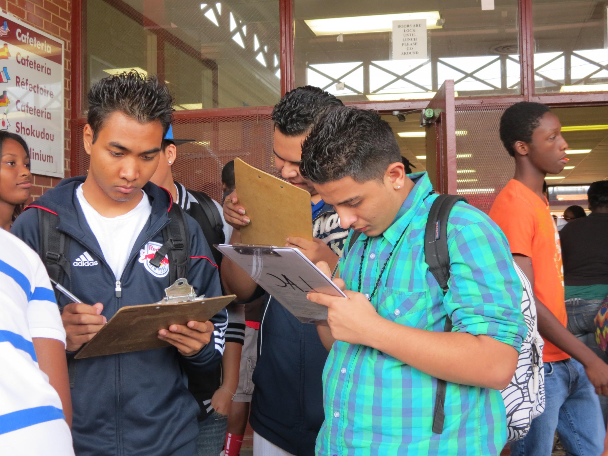 students registration during