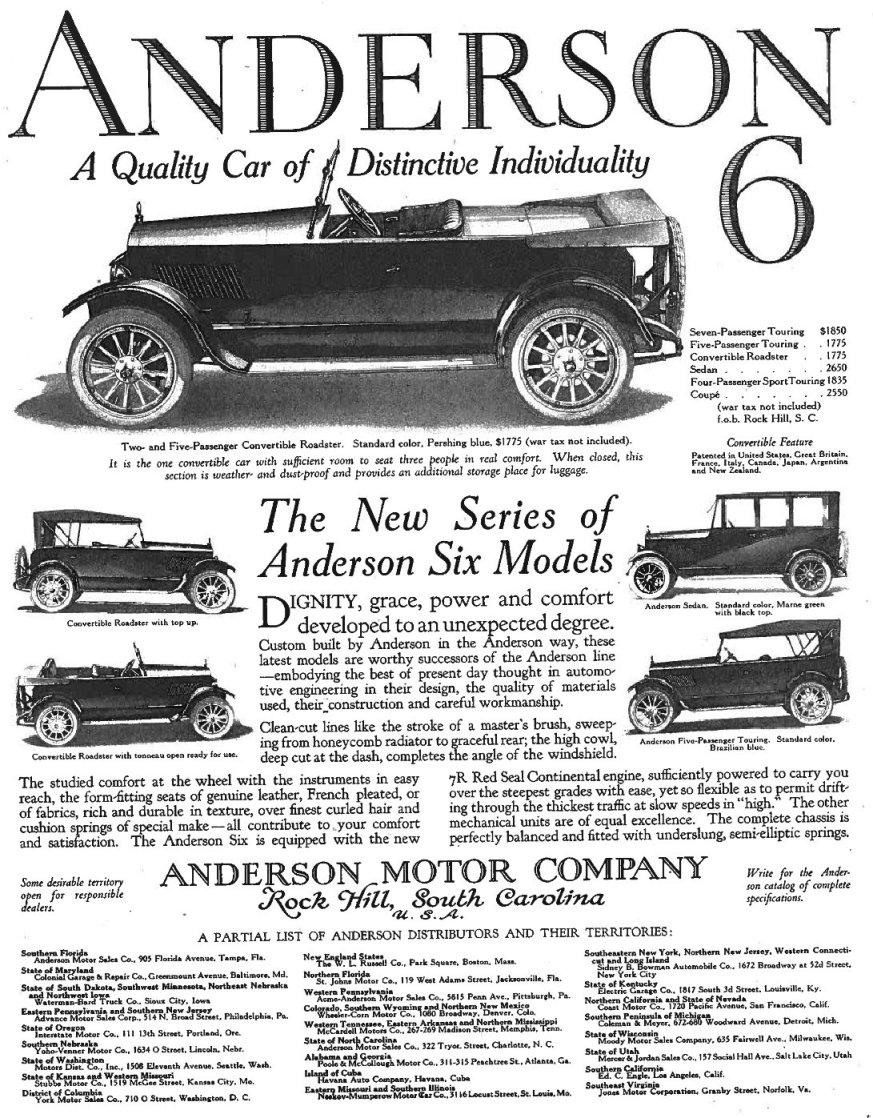 Rock Hill's Short-Lived Auto Manufacturer: The Anderson Motor Company
