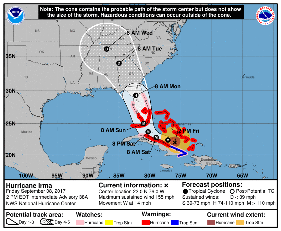 Hurricane Irma track continues shift west into Georgia