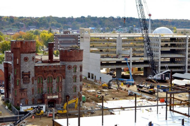 Construction of the MGM casino in Springfield, Mass., as of Oct. 2016.