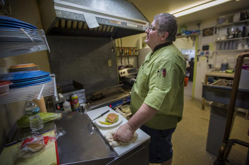 Jesse Algarin is co-owner and chef of the Hometown Cafe in Winchendon. The lifelong Republican voted for President Trump -- and so did the town.