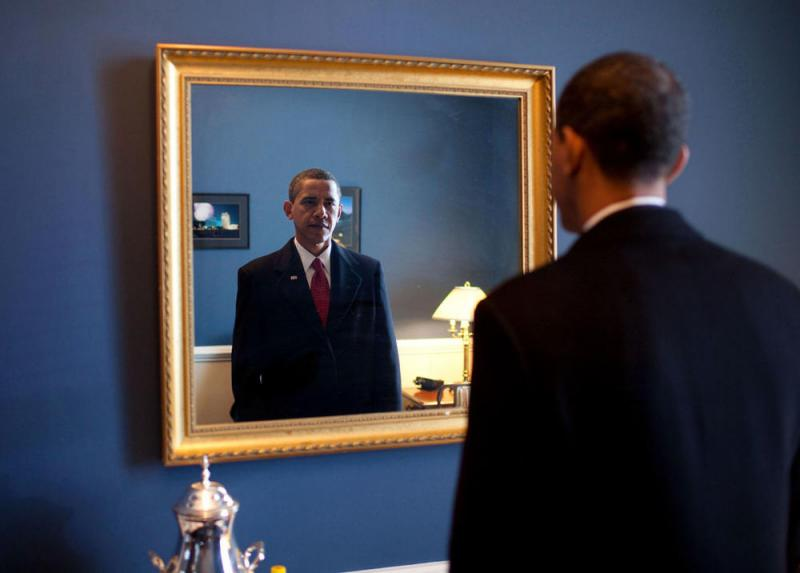 Barack Obama before going out to take the oath in 2009