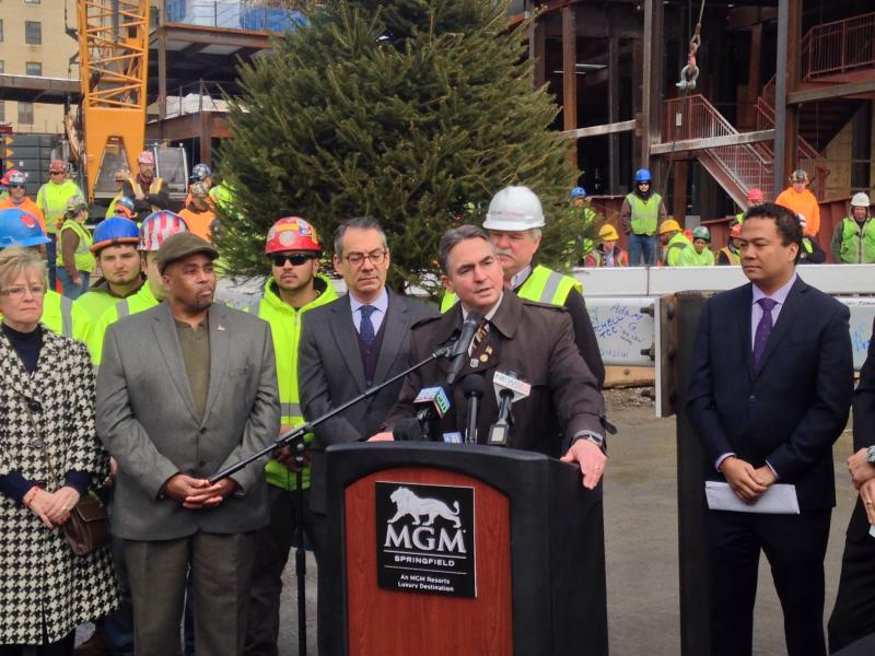 Springfield Mayor Domenic Sarno speaks during a press conference on the MGM construction site on March 29, 2017.