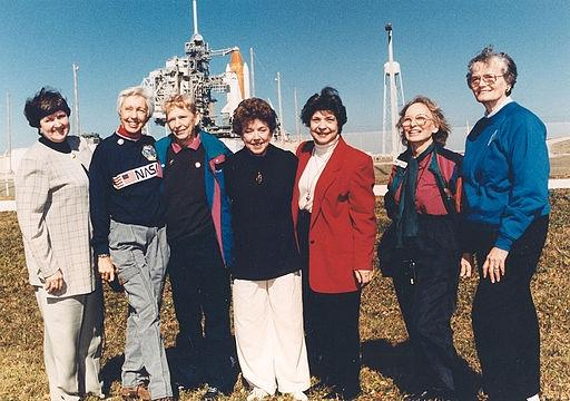 Visiting the space center as invited guests of STS-63 Pilot Eileen Collins in 1995 are seven members of the Mercury 13 (from left): Gene Nora Jessen, Wally Funk, Jerrie Cobb, Jerri Truhill, Sarah Ratley, Myrtle Cagle and Bernice Steadman.