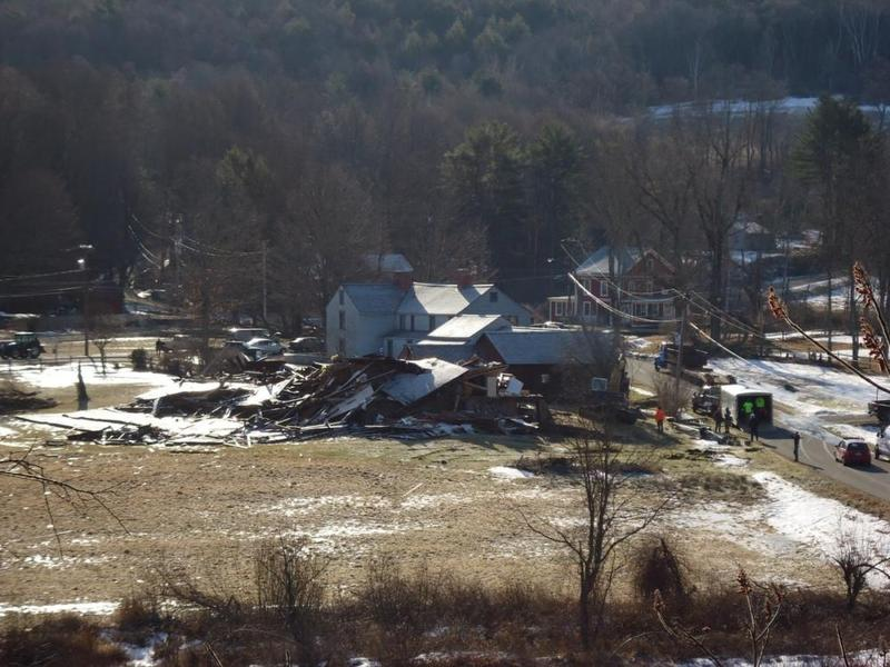 A barn in Conway, Mass. was flattened after an EF-1 tornado hit the town in February 2017.