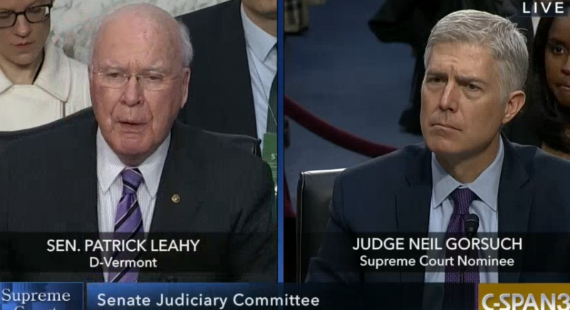 U.S. Sen. Patrick Leahy of Vermont questions Neil Gorsuch during a Supreme Court confirmation hearing on March 21, 2017.
