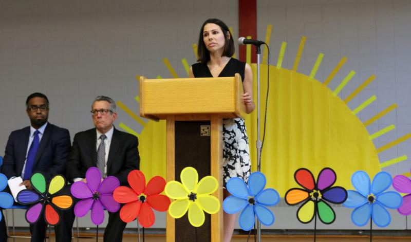 State receiver Jessica L. Huizenga spoke of the Southbridge Public Schools turnaround plan on Friday, June 24, 2016.
