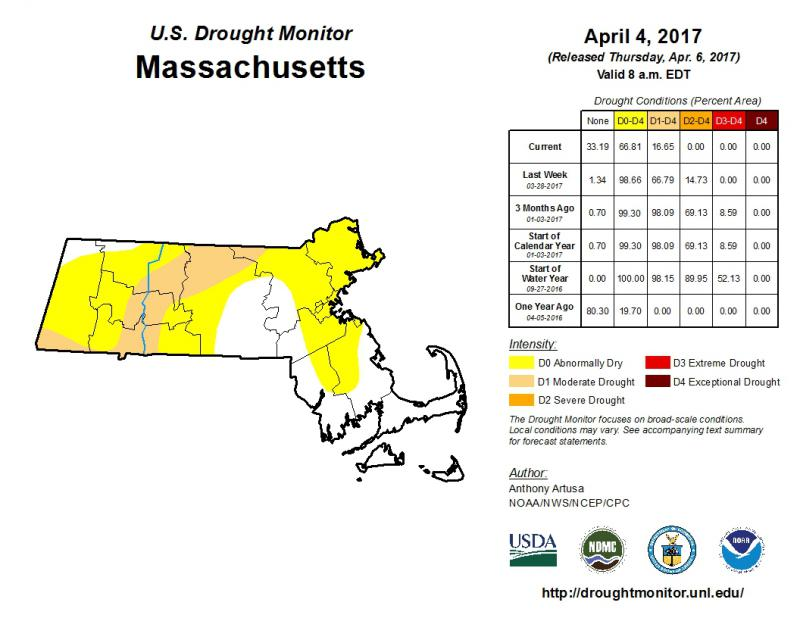 The latest drought survey map for Massachusetts, as of April 6, 2017.