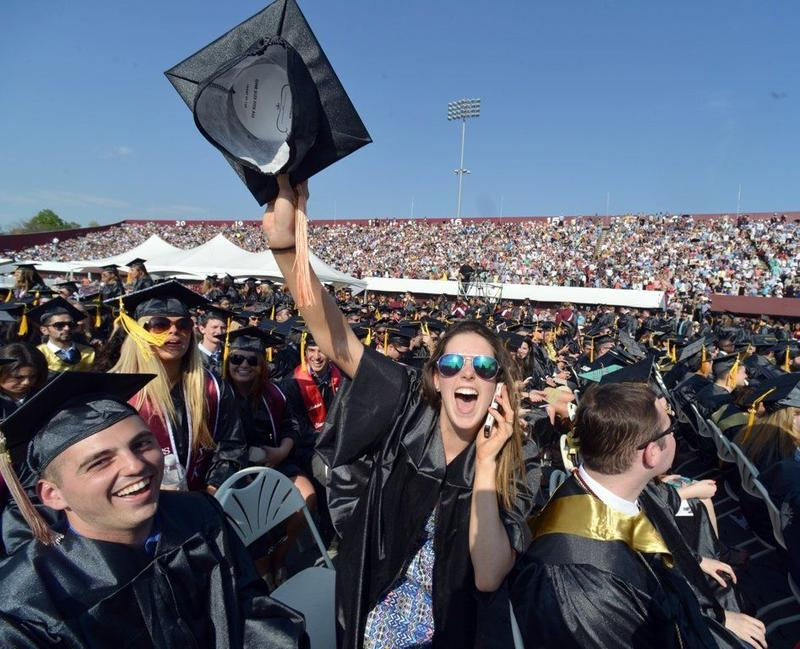 In May of 2015, about 5,500 students graduated from UMass Amherst during ceremonies at McGuirk Stadium on campus. This is Elizabeth Thomas of Medfield, Ma.