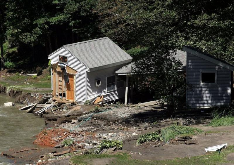 This home at 581 West Leyden Road in Leyden, Mass., was swept away by flooding caused by Tropical Storm Irene.