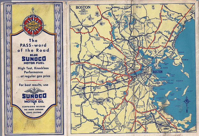 A Sunoco road map of Boston, Mass.