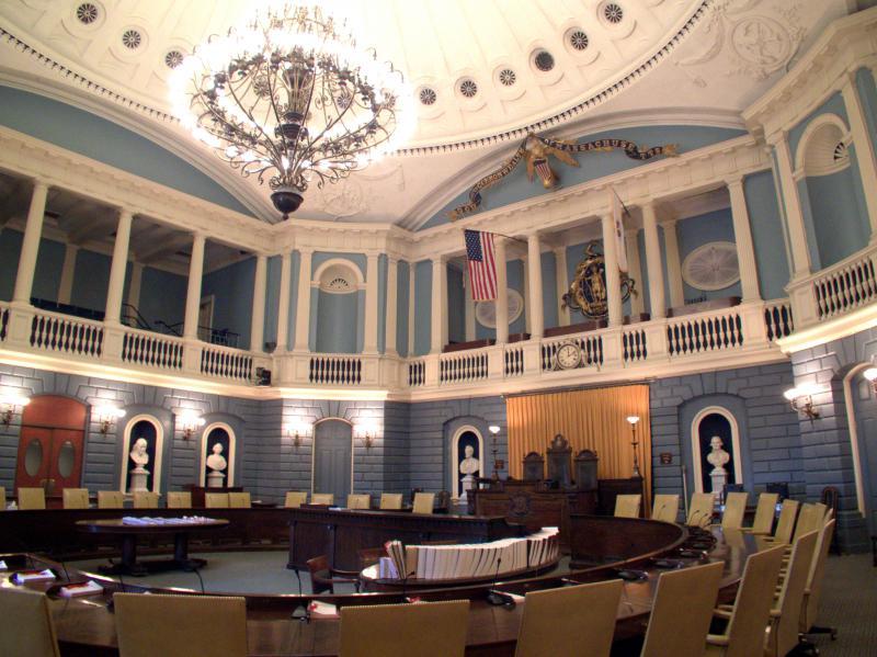 The Senate Chamber at the Massachusetts Statehouse.