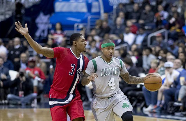 Isaiah Thomas of the Boston Celtics in action against the Washington Wizards at Verizon Center on January 24, 2017, in Washington.