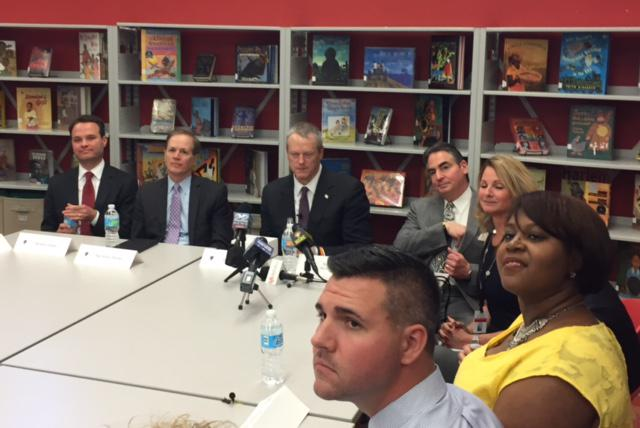 Governor Baker gets an update on the Springfield Empowerment Zone at Forest Park Middle School.