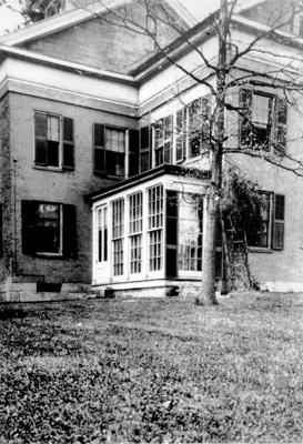 Photo of Emily Dickinson's original plant conservatory, which has now been recreated at the same location.