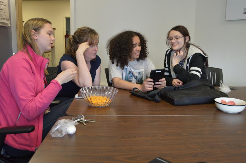 Members of Girls Inc. Holyoke participated in Technovation Challenge. Pictured (left to right): Stella Cabrera, Meghan Bone (staff), Crystalee Mendez and Julia Lescell.