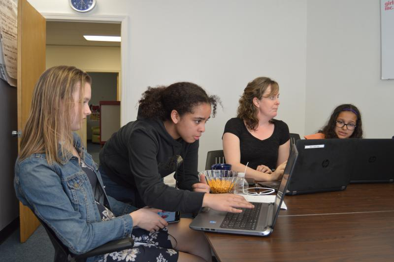 Girls Inc. Holyoke participated in Technovation Challenge. Pictured (left to right): Stella Cabrera, Crystalee Mendez, Meghan Bone (staff) and Jaylynn Rentas.