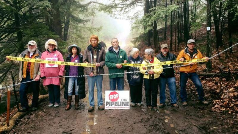 Protesters block access to Otis State Forest in Sandisfield, Mass. where a natural gas pipeline is being built.