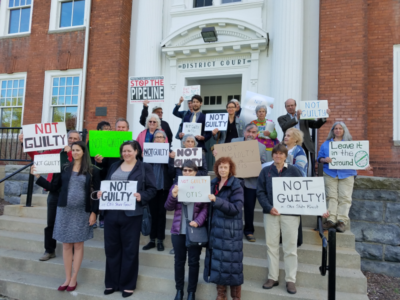 Pipeline protesters and their supporters outside of Southern Berkshire District Court in Great Barrington, Mass. after a hearing on May 11, 2017.