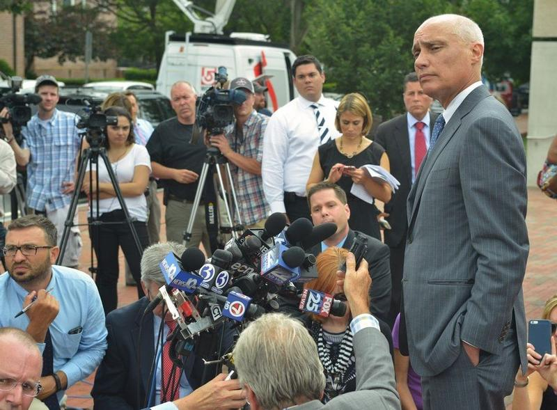 David Hoose, attorney for Alex Ciccolo, taking questions from reporters after a hearing at federal court in Springfield, Mass., in July 2015.