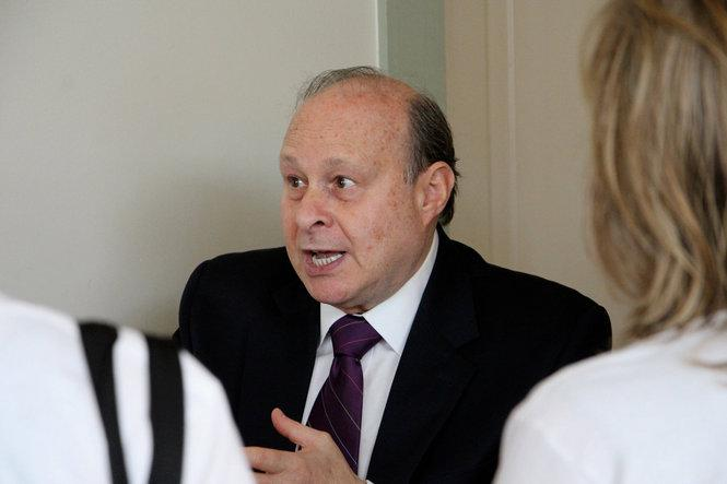 State Senate President Stanley Rosenberg speaks with constituents during a meet-and-greet at Northampton Coffee on Thursday, September 10, 2015.