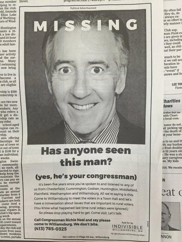 "A ""missing persons"" ad in the Daily Hampshire Gazette, aimed at U.S. Representative Richie Neal."