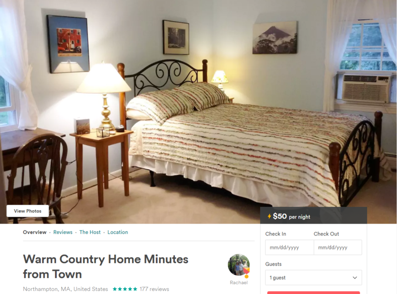 The Airbnb posting for a bedroom rented out by Northampton, Mass., resident Rachael Naismith.