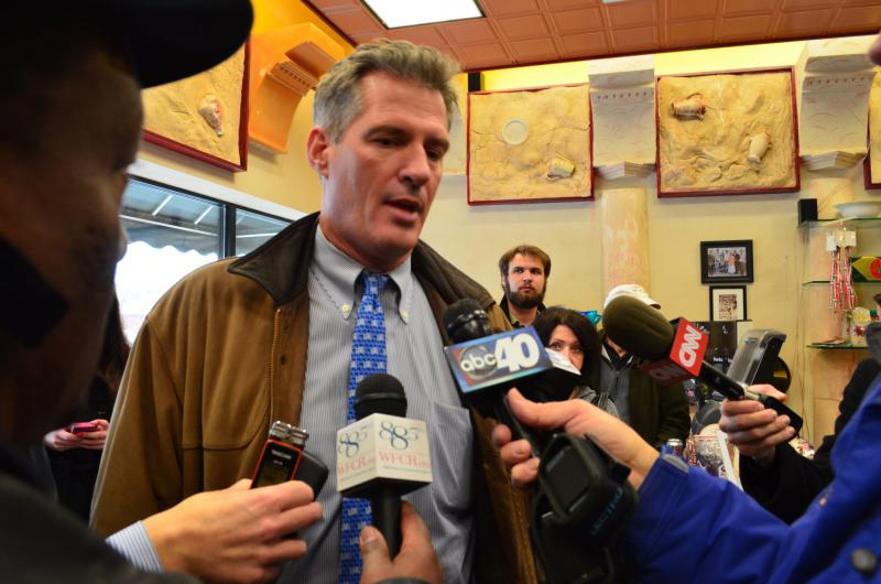 Then a U.S. senator from Massachusetts, Scott Brown visited Springfield on January 25, 2012.