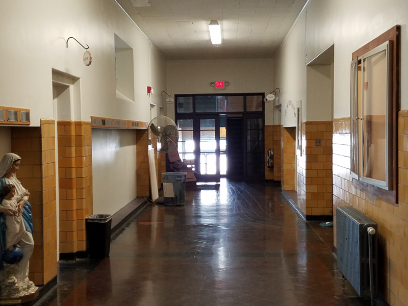 A now-quiet hallway on the first floor of St. Joseph Central High School in Pittsfield.