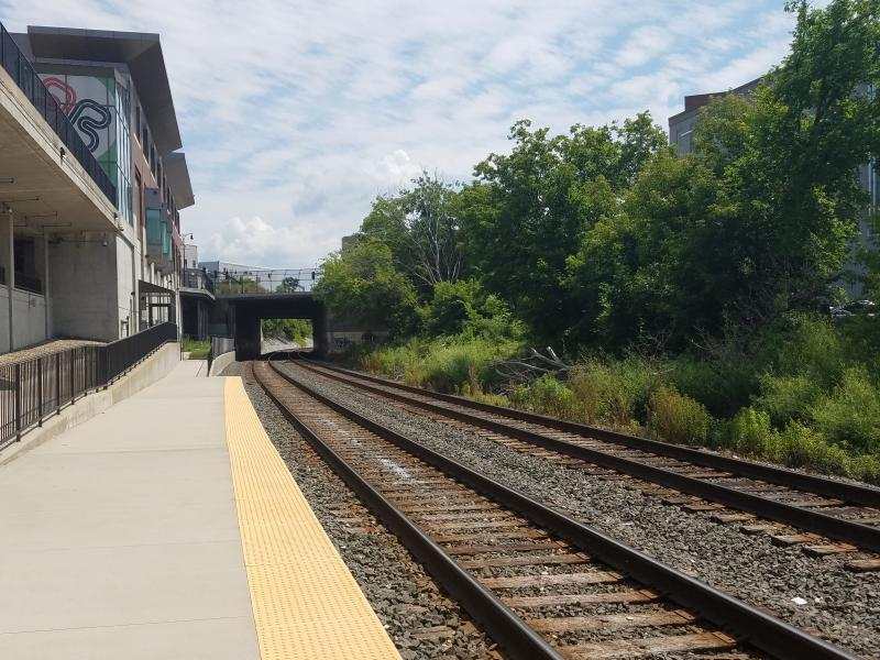 The rail platform at the Joseph Scelsi Intermodal Transportation Center in Pittsfield, Massachusetts.