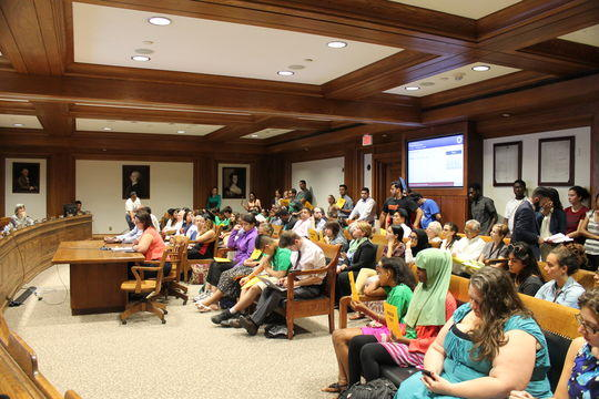Immigration advocates, students and educators at a higher education hearing in Boston in 2015.