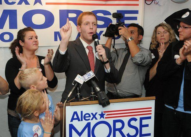 Alex Morse on election night in 2011, when he first won the mayor's office by defeating incumbent Elaine Pluta.