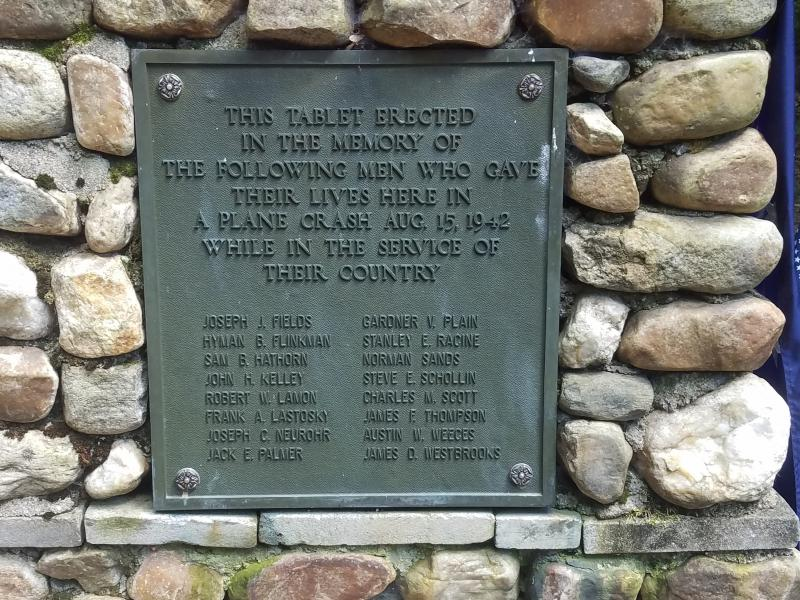 The names of the 16 men killed during a military plane crash in Peru, Massachusetts, on August 15, 1942.