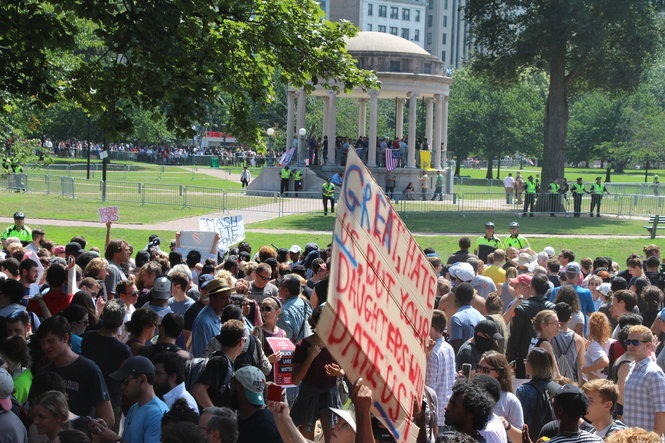 "Over 10,000 people attended a counter-protest of the ""Boston Free Speech"" rally on the Boston Common on Saturday, August 19, 2017."