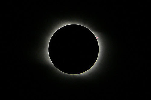 The total solar eclipse on August 1, 2008, as seen in Novosibirsk, Russia.