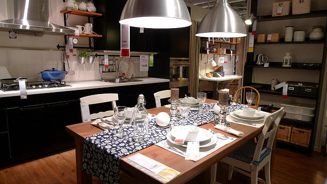 A kitchen showroom in an Ikea store.
