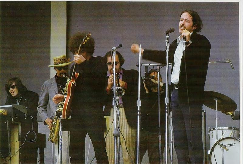 The Paul Butterfield Blues Band at Monterey Pop (l-r) Mark Naftalin, Gene Dinwiddie, Elvin Bishop, Keith Johnson, Paul Butterfield