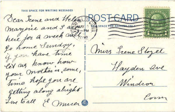 Back of a Fairfield Beach Postcard from 1932