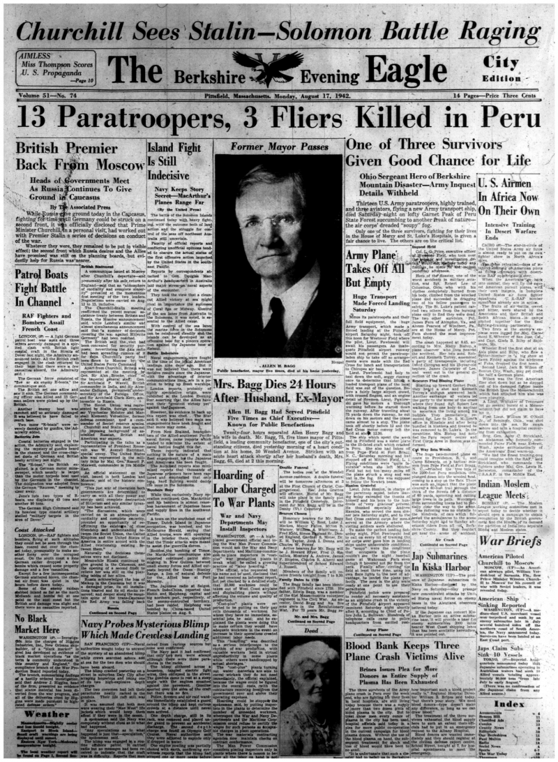 The front page of the Berkshire Eagle from August 17, 1942, reporting news of the plane crash in Peru, Massachusetts.