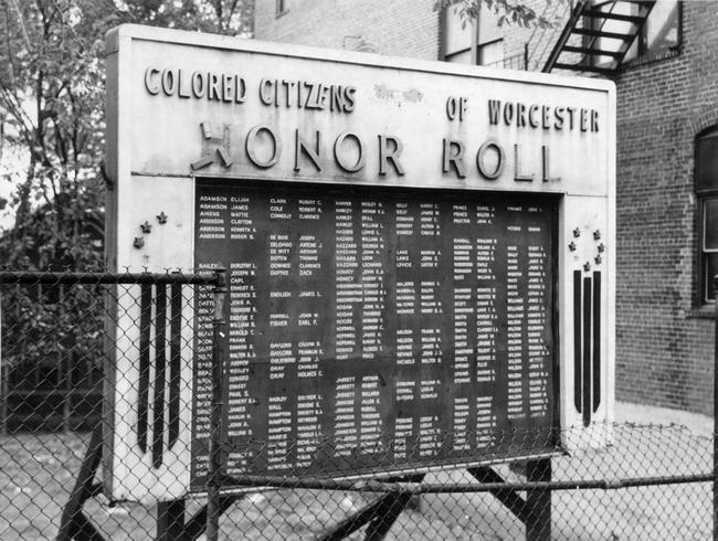 The original monument honoring people of color from Worcester who served in World War II.