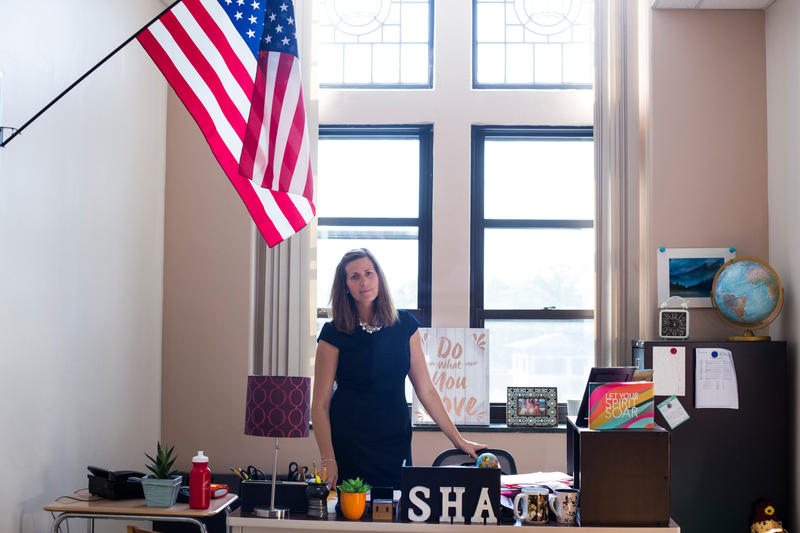 Grace Howard-Donlin, principal of the Springfield Honors Academy, in her office in Springfield, Massachusetts.